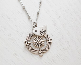 Compass Necklace, Sparrow, Bird Necklace, Graduation Gift, Bridesmaid Jewelry, Gift for BFF, Silver Compass Jewelry, Nautical, Best Friend