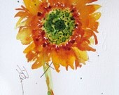 Sunflower Watercolor Sketch Art Print, 8 x 10 Sunflower Art