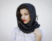 The Beginners Cowl Hand Knit in Charcoal Wool Blend