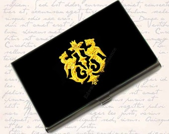 Golden Dragon Crest Business Card Case Inlaid in Hand Painted Black Enamel Coats of Arms Metal Card HolderCustom Colors and Personalized