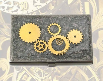 Steampunk Gear and Cog Metal Card Case Inlaid in Hand Painted Enamel Card Case Industrial Metal Wallet Personalized Option Available