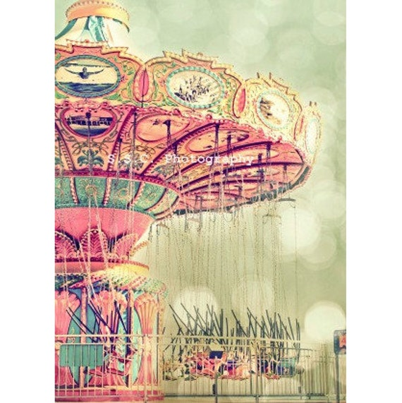 Carnival Photo. Swings.Dreamy. girly decor. Santa Cruz beach boardwalk. Pink. Green. Pale. Pastel. Bokeh. fair. Nursery Art. Mint.  Cute
