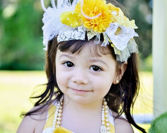 "Baby Headband Newborn Headband : The ""Lemonade Stand""  Luxe Yellow, Creme, and White Headband  for newborns, toddlers, children adults"