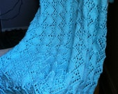 Hand Knit Textured Aqua Blue Baby Blanket / Afghan