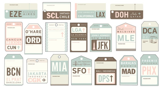 Vintage Luggage Tag Travel Escort Cards