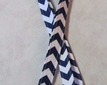 Sale Fabric ID Badge Holder 1 inch Lanyard--Riley Blake (You Pick Color) Small Chevron--Great Teacher Gift