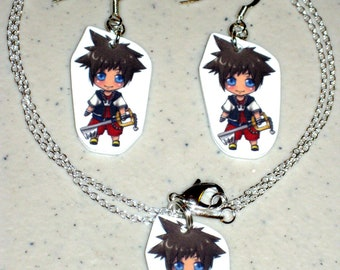 Sora - Kingdom Hearts - Necklace and Earring Set, Keychain, Cell Phone Charm