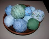 Large Lot Rag Rug Fabric Balls for primitive display braided crochet rugs Blue Sea Green