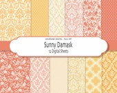 Damask digital paper pack in pink yellow orange and beige, digital backgrounds - 12 jpg files 12x12 - INSTANT DOWNLOAD Pack 397