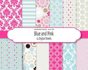 Pink Digital paper, damask digital paper, floral digital paper, pink and blue, digital backgrounds -  385