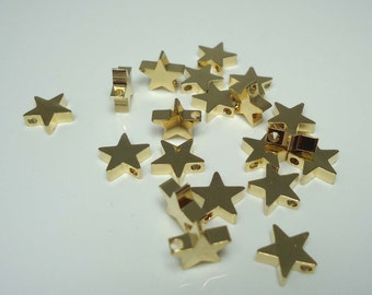 F-54. 9mm Gold Plated Star Beads - 4pcs
