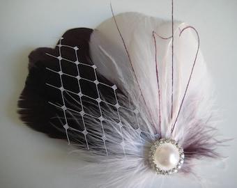 Wedding Bridal Bridesmaid White Plum Purple Eggplant Feather Rhinestone Jewel White Veiling Head Piece Hair Clip Fascinator