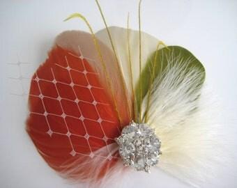 Fall Autumn Wedding Bridal Bridesmaid Ivory Burnt Orange Olive Green Champagne Feather Rhinestone Jewel Hair Clip Fascinator