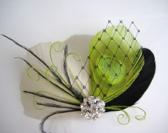 Wedding Bridal Ivory Black Lime Green Peacock Feather Rhinestone Jewel Head Piece Hair Clip Fascinator