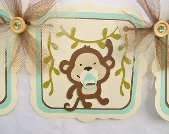 Baby monkey baby shower banner, its a boy, ivory, mint green and brown,