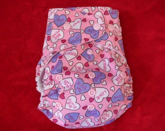 SassyCloth one size pocket diaper with cutie pies  PUL print, white snaps. Ready to ship.