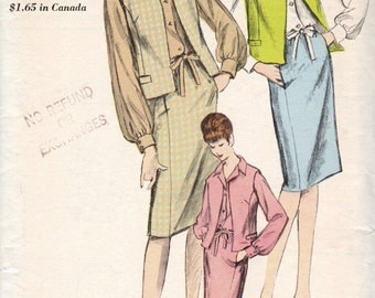 FACTORY FOLDED 1960'S Misses' Jacket, Skirt and Blouse Vogue 6209  Size 14  Bust 34