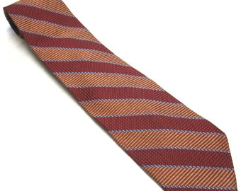 "Vintage Necktie Red Orange Blue Wide Jos A Bank Italian Silk Tie 4"" Wide"