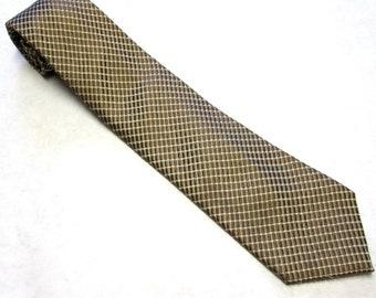 """Vintage Necktie Antique Golden Brown and white Silk Tie 4"""" Wide"""