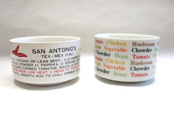Soup Bowl Cups Set of Two Vegetable Texas Chili Red White