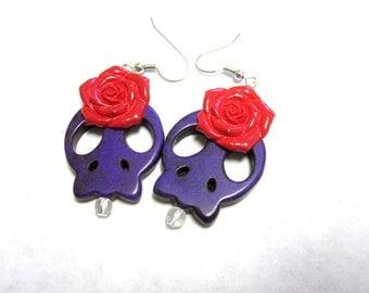 Skull Earrings Day of the Dead Jewelry Rockabilly Purple & Red