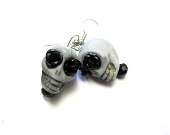 Skull Earrings Day of The Dead Jewelry Gray Rose Sugar Skull Earrings