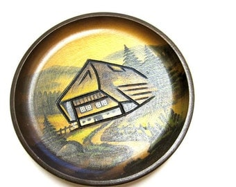 Wood Plate Hand Carved Painted European Swiss