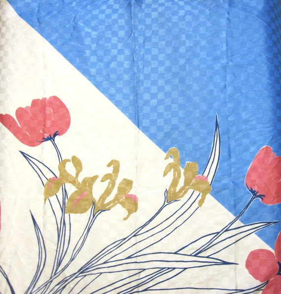 Scarf Blue White Rose Pink Poppy Flower Hair Tie Wrap Head Accessory