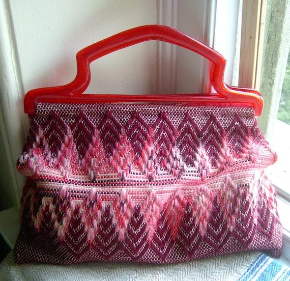 Vintage Knitting Bag : S vintage knitting bag bargello pattern lucite