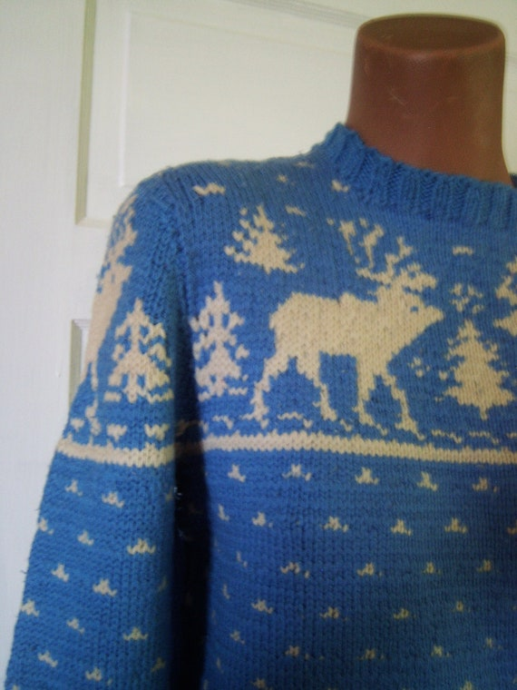 Beautiful Vintage Hand Knit Nordic Sweater Deer Pattern Berlou Moth Proofed
