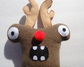 Christmas Monster Dog Toy - Herman The Red Nose Reindeer Squeak Toy