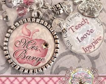 Teacher Gift Personalized TEACH LOVE INSPIRE Necklace (or Key chain), Thank You Gift, Teacher Appreciation, Rhinestone Apple Charm, Damask