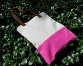 Big Striped Canvas Tote Bag with Leather Strap - Creamy and Pink (OWNER WORD)