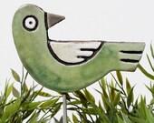 bird garden art - plant stake - garden marker - garden decor - bird ornament - ceramic bird - green and white
