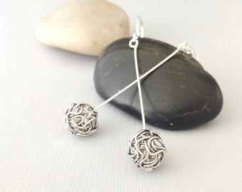 Silver wire ball earrings, silver drop earrings, long dangle earrings, long silver earrings, silver jewelry