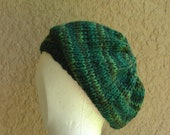 Slouch Hat, Tam, Beanie, Beret, Stocking Cap emerald green multicolored baby alpaca