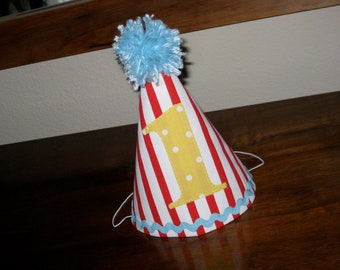 First Birthday Hat Red and White Vintage Carnival Circus Theme Yellow Light Blue First Birthday Party 1st Birthday Outfit