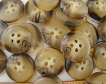 """Cool Vintage Shirt Buttons -Camel Brown Horn Effect 24L (5/8"""" 15mm) plastic 4-hole sew on crafts flatback dome front 18pc"""