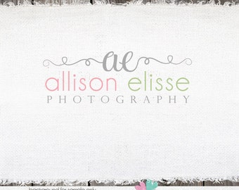 Hand Drawn Premade Logo Design with initials Swirls  - Swirl Photography Photographers Shop Logo Watermark Design