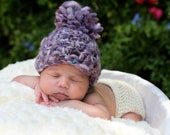 Single Pompom Hat/ Thick and Thin Hand Spun Wool Acrylic Mix/ Newborn to 3 Months/ Complimentary Shipping