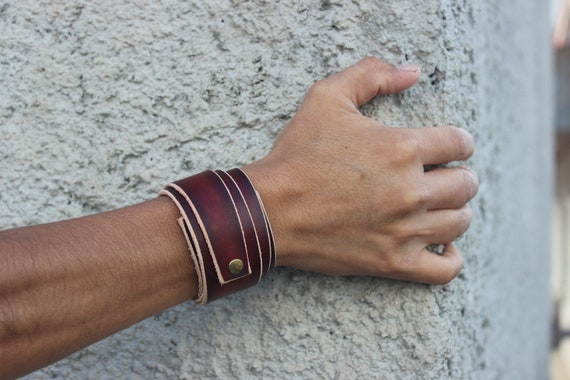Modern Cuff Bracelet Handcrafted Jewelry Double Tone Wrap Leather Wristband