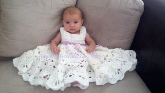 Christening gown 0/3-3/6months- Custom order Hand Crochet