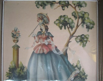 Victorian Lady with Parasol in a Garden Framed Print