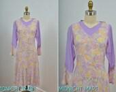 1930s dress/ 30s voile dress/ lilac