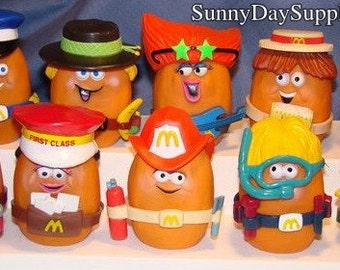 Vintage McDonald's Happy Meal Toys, All McNugget Buddies, 10 McNugget Buddies, Entire Set,  Chicken McNuggets, 1988, Food Toys
