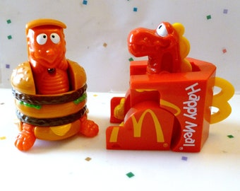 2 Vintgae McDonalds Happy Meal Toys, Changeables,  Big MAC and Happy Meal Box , Kids Food Toys,  2 in Lot