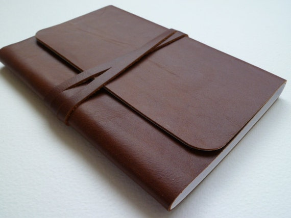 Leather Bound Notebook/Journal Rich Chestnut Brown Handmade