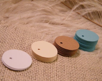 """100 SMALL Gift Tags  Price Tags 1.25"""" Circle Pick your color Turquoise Blue / Ivory / White / Kraft  Tiny Tags  DIY Wine Glass Charms Labels"""