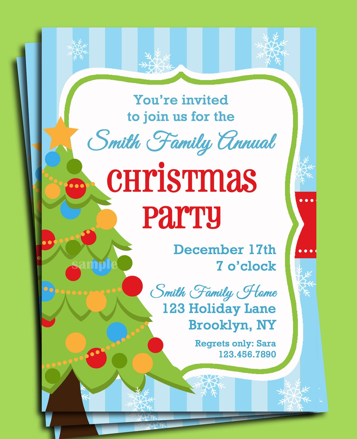 Christmas party invitation printable christmas tree in snow zoom stopboris Gallery