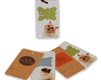 Cat themed gift tag set of 4 assorted designs